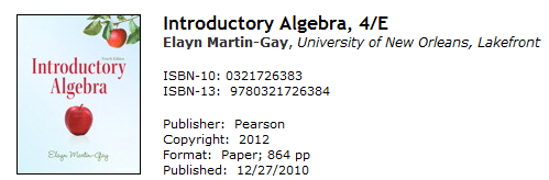 Introduction to Algebra Book Picture